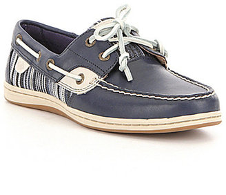 Sperry Koifish Denim Stripe Leather and Textile Lace-Up Boat Shoes $90 thestylecure.com