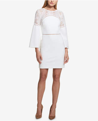 Kensie Bell-Sleeve Lace-Trim Dress