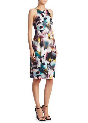 Monique Lhuillier Ml Keyhole Back Floral-Print Dress