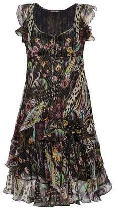 Roberto Cavalli Ruffled Printed Metallic Silk-Blend Georgette Dress