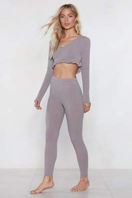 Nasty Gal What's the Chill Lounge Crop Top and Leggings Set