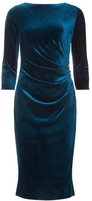 Womens **Billie & Blossom Teal 3/4 Sleeve Velour Bodycon Dress