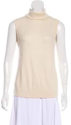 Oscar de la Renta Sleeveless Knit Turtleneck Sweater