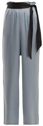 Asceno - Wide Leg Silk Pyjama Trousers - Womens - Blue