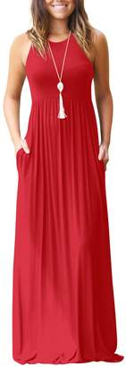 Miatty Women's Round Neck Slim Sleeveless Pleated High Waist Casual Maxi Dress XL