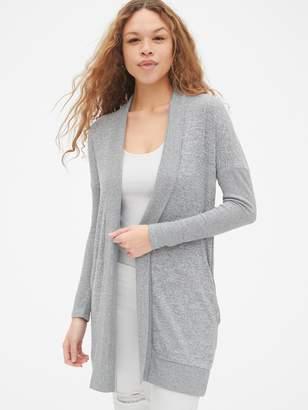 Gap Softspun Mix-Fabric Longline Open-Front Cardigan