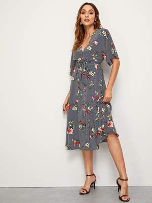 Shein Floral & Striped Print Belted Dress