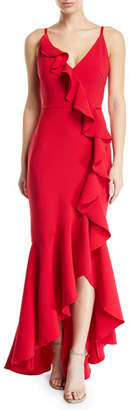 Marchesa Cascading Ruffle High-Low Gown in Crepe