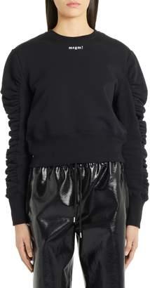 MSGM Ruched Sleeve Crop Sweatshirt