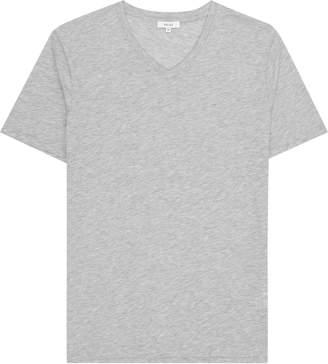 Reiss Dayton Marl - V-neck T-shirt in Grey Marl
