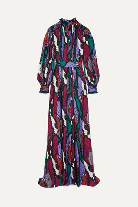 Carolina Herrera Belted Printed Crepe Gown - Navy