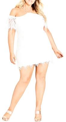 City Chic Lace Devotion Off the Shoulder Minidress