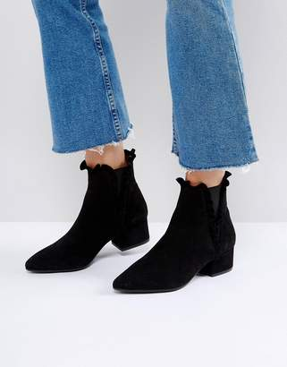 Sixty Seven SixtySeven Black Suede Ruffle Ankle Boots