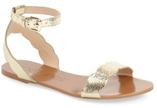 Women's Sole Society 'Odette' Scalloped Ankle Strap Flat Sandal $64.95 thestylecure.com