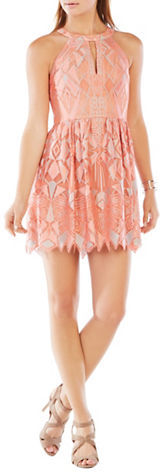 BCBGMAXAZRIABcbgmaxazria Sleeveless Geometric Lace Fit and Flare Dress