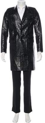 Saint Laurent Calfskin Crocodile-Patterned Overcoat