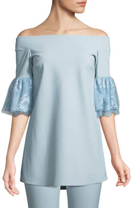 Chiara Boni Gizzy Lace-Sleeve Off-the-Shoulder Top