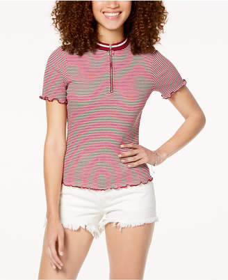 Ultra Flirt by Ikeddi Juniors' Ribbed-Knit Zip-Up Shirt
