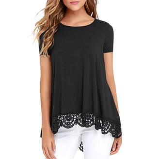 91bdd6b82a1 Sunmoot Lace Tops for Women Casual Loose Short Sleeve O Neck Tunic T-Shirt  Blouse