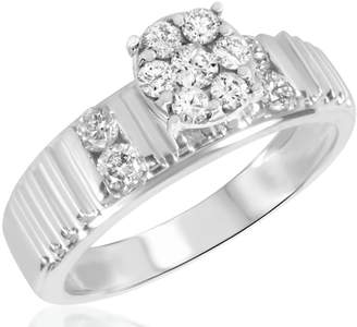 My Trio Rings 1/2 CT. T.W. Diamond Ladies Engagement Ring 14K White Gold- Size 7.5