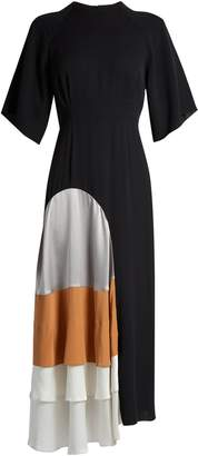 Rauma round-neck contrast-panel georgette dress