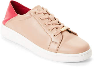 Calvin Klein Desert Sand & Fuchsia Danica Leather Low-Top Sneakers
