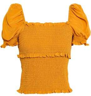 Cinq à Sept Ellis Ruffle-Trimmed Shirred Silk Crepe De Chine Top