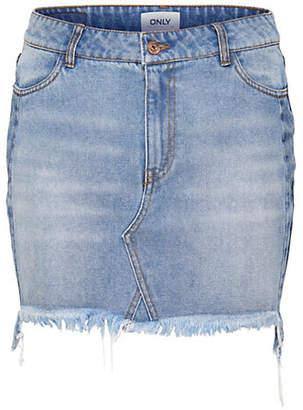 Only Raw-Edge Denim Skirt