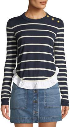 Veronica Beard Ollie Striped Wool Flounce Sweater