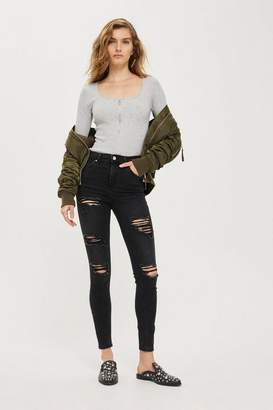 Topshop Washed Black Super Ripped Jamie Jeans