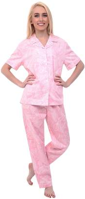 Alexander Del Rossa Womens Cotton Pajamas, Woven Pj Set with Pants, Large Pink with White Paisleys, Piping (A0518B41LG)