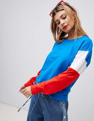 Noisy May color block sweatshirt