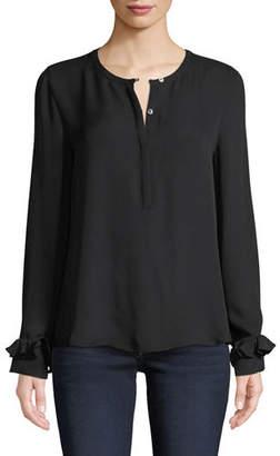 Kobi Halperin Kay Long-Sleeve Silk Ruffle-Cuff Blouse
