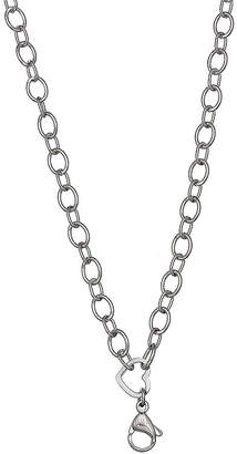 STERLING SILVER CHAINS Silver Reflections Stainless Steel Heart-Link Necklace