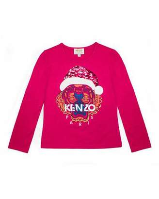 Kenzo Flip Sequin Santa Tiger Tee, Girls' Size 8-12