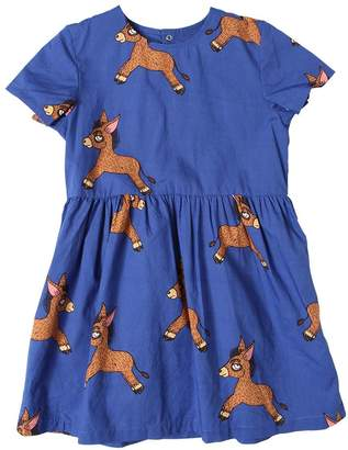 Mini Rodini Donkey Print Organic Cotton Poplin Dress