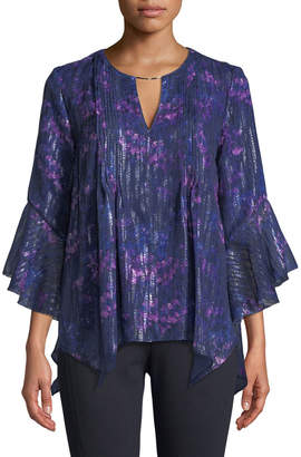 T Tahari Three-Quarter Bell Sleeve Blouse