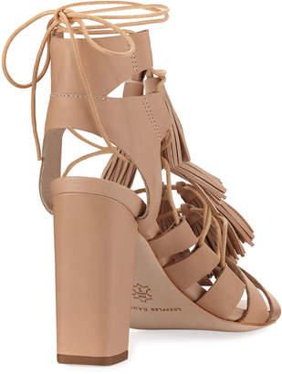 Loeffler Randall Luz Tassel Lace-Up Leather Sandal, Wheat
