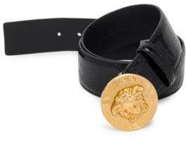 Versace Medusa Greek Key Stamped Croc Belt