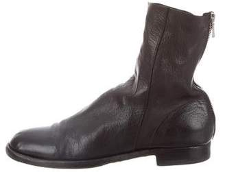 Officine Creative Leather Round-Toe Ankle Boots