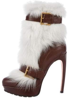 Alexander McQueen Raj Shearling-Trimmed Leather Boots