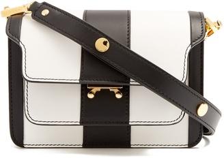 Trunk striped mini leather cross-body bag
