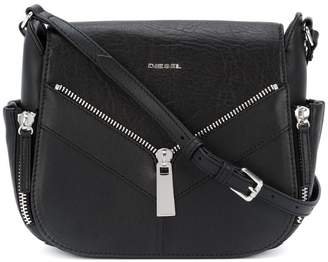 Diesel zip applique satchel