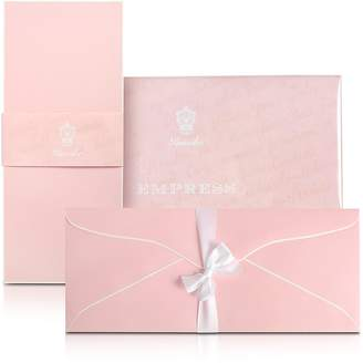 Pineider Empress - 25 Long Pink Note Cards with Handpainted White Border