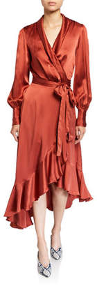 Zimmermann Espionage Blouson-Sleeve Silk Midi Wrap Dress