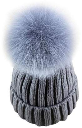 7fd7fd1f2e6 GuoMan Womens Girls Knitted Fur Hat Real Large Silver Fox Fur Pom Pom  Beanie Hats