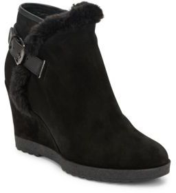 Christa Leather & Suede Wedge Booties $395 thestylecure.com