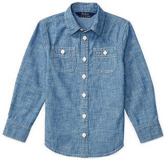 Ralph Lauren Childrenswear Girls 2-6x Chambray Top $45 thestylecure.com