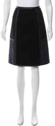 Bottega Veneta Leather-Trimmed Knee-Length Skirt