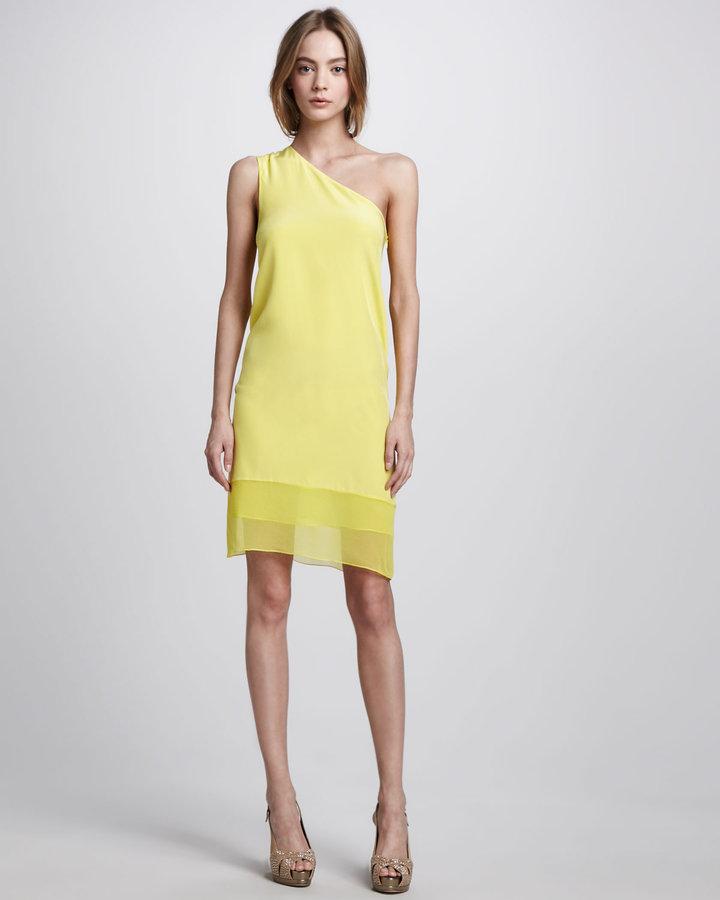 Tibi Hannah Silk One-Shoulder Dress